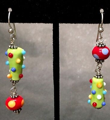 ADORABLE & FUN Pair of Handcrafted Artisan Bright Color Lampwork Earrings