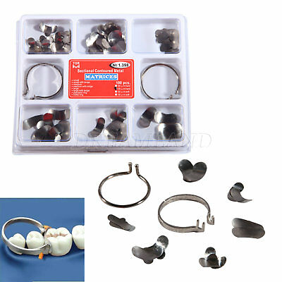 100Pcs Dental Sectional Contoured Metal Matrices Matrix 35 μm hard Kit & 2 Rings