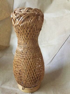 Antique ASIAN Woven Bamboo Over Bamboo core Ikebana VASE  China Japan 7.5 in