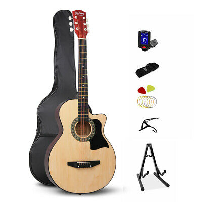 Alpha 38 Inch Wooden Acoustic Guitar Set - Natural