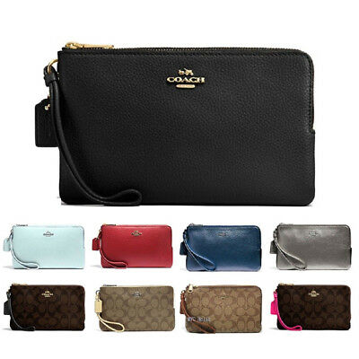 New Coach F87587 F16109 Double Zip Wallet Wristlet Fits Iphone Plus With Git Box