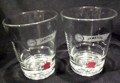 JOHN JAMESON & SON Irish Whiskey Red Label Lowball Rocks Glasses (2) MINT!