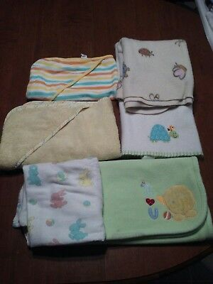 BOYS: BABY LOT of 6: BLANKETS, HOODED TOWELS, RECEVING BLANKET, pastels, animals