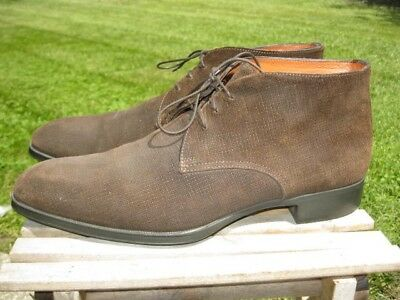 New In Box* Santoni Men/'s Urban S3 Suede Chukka Boots Dark Brown