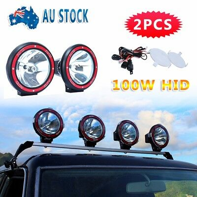 """2x 7"""" 100W DRIVING LIGHTS HID XENON 12V SPOT OFF ROAD UTE WORK RED"""