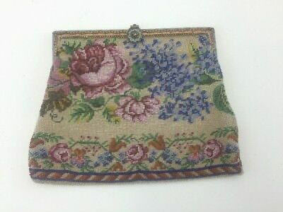 Antique Micro Beaded Purse Floral Pattern Front and Back Enameled Frame Stunning