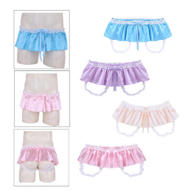Sissy Men Ruffled Satin Skirted Panties Lace Briefs Underwear G-string Bikini
