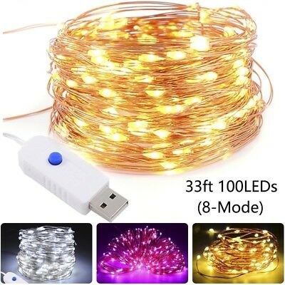 50/100LED USB String Copper Wire Fairy Lights Xmas Party Fairy Decor Lamp Lwx