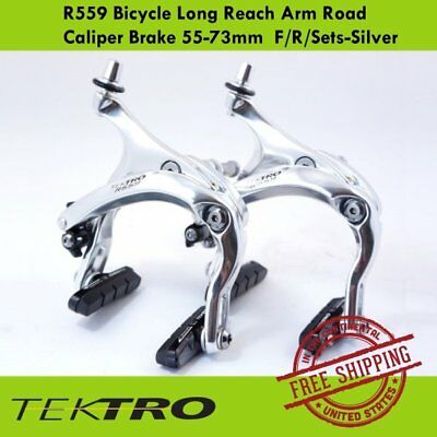 Tektro R559 Bicycle Long Reach Arm Road Caliper Brake 55-73mm  F/R/Sets-Silver