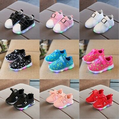 Toddler Baby Kid LED Luminous Shoes Boy Girl Light Up Sport Trainers Sneakers UK