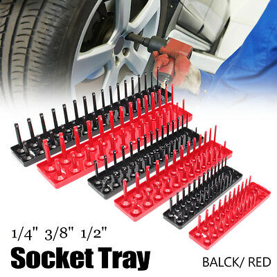 3pcs 90 1/4 3/8 1/2'' Socket Rack Storage Tray Holder Shelf Organizer Metric SAE
