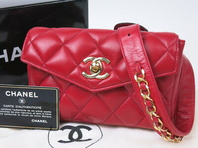 02b3d91f3f8d Authentic CHANEL Matelasse Waist Bag Quilted Vintage CC Logo Red Lambskin  r1118