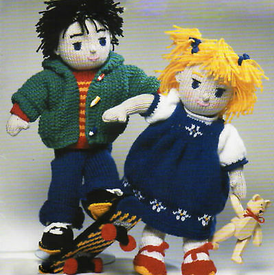 "Knitted Boy/Girl Rag Doll with Clothes 15""  DK Knitting Pattern"