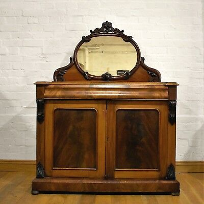 Antique Victorian mahogany double cupboard chiffonier - sideboard with mirror