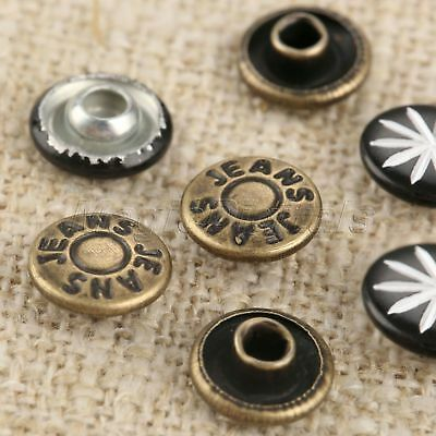 9mm Bronze/Black Pattern 100pcs Jeans Button Angle nail &Nails for Leather Bags