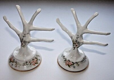A Pair Of Fenton China Ring / Jewellery Trees With A Floral Design