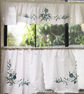 Country Cottage Kitchen Blue Floral Window Valance Kitchen Cafe Cutains