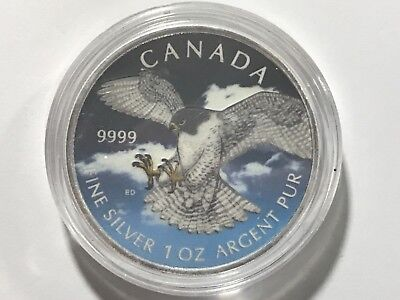 2014 1Oz Ounce Canadian Silver Hawk Colorized Coin 9999