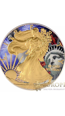2017 1 Oz Ounce Silver American Eagle .999 Lady Liberty 24K Gilded Colorized