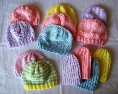 Premature Baby Hats 5 Different Options  DK/Baby Wool Knitting Pattern