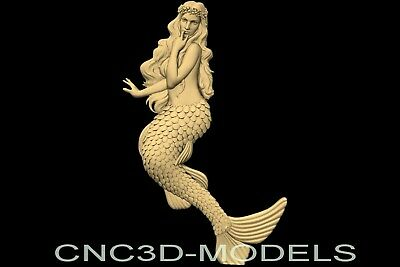 3D Model STL for CNC Router Carving Artcam Aspire Women Girl Mermaid n922