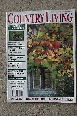 Country Living Nov 88 - Horses, Stencils, Needlepoint, Venison, Caves, Oxford.