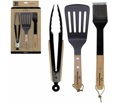 Wood Metal Barbecue Set 3-Piece BBQ Grilling Utensils Tongs Spatula Grease Brush