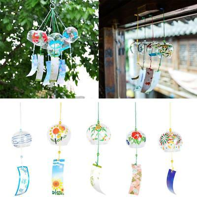 Japanese Glass Furin Wind Chime Hand-painted Home Garden Decorative Traditional