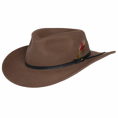 a50d39c4b87629 Mens Outback Wool Cowboy Hat Montana Pecan Brown Crushable Western Felt  Silver C