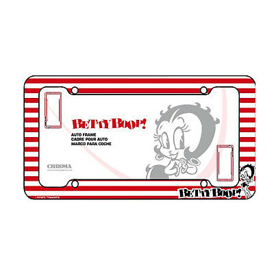 Betty Boop Red /& White Stripes Plastic Auto License Plate Frame