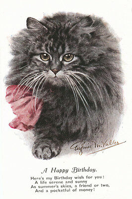 Pursian Cat Kitten BIRTHDAY Note 1940 BY Eugene Valter 8 New Blank Note Cards