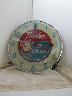 1953 BORDENS Elsie Ice Cream Light-Up Advertising Pam  Clock 15""