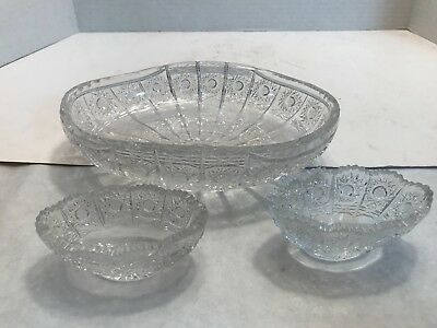 Queen Lace Large Crystal Candy Dish + Two Small Candy Dishes (Set of 3)