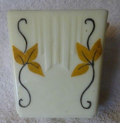 Late 1930s AKRO AGATE Light Cream Celadon Ledge Vase #314-2 Hand Painted Leaves