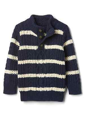 NWT Baby Gap Toddler Boys Size 4 4t Blue Striped Sherpa Neck Winter Sweater