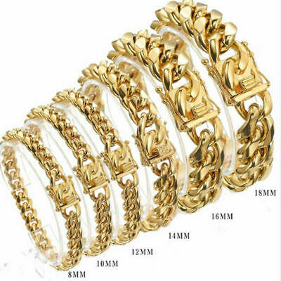18k Gold Plated Mens Miami Cuban Chian Bracelet High Quality Stainless Steel