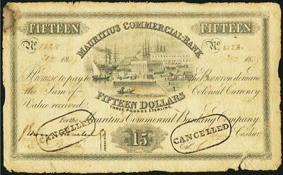 Mauritius Commercial Bank 15 Dollars 1839 Pick S123 rubber stamped cancelled