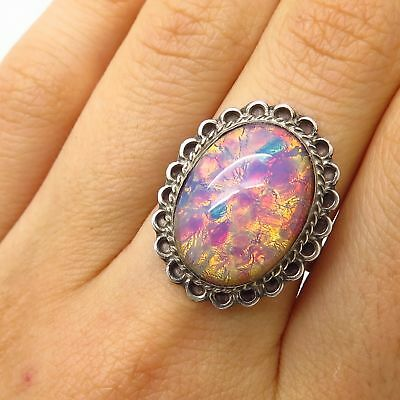 Vtg Mexico Signed 925 Sterling Silver Art Foil Glass Wide Ring Size 7