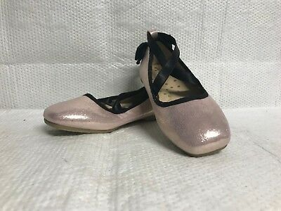 c28d93229fcd Cat   Jack Pink Girls Ballet Slippers Shoes Ae036 W  Black Bow New Courtney