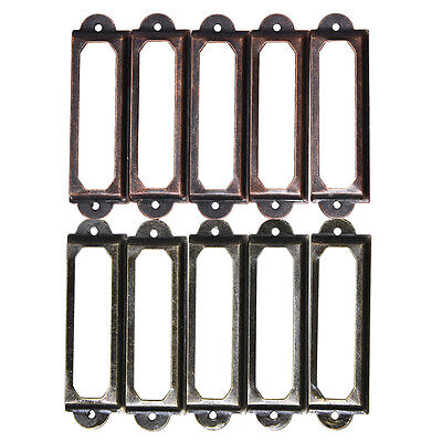 10pcs Drawer Label Pull Holder Frame Cabinet Antique Brass Screw Name File ATUS