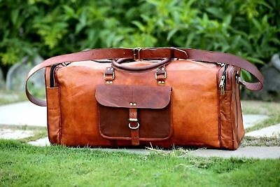 Brown Large Mens Leather Vintage Duffle Luggage Weekend Gym Overnight Travel Bag