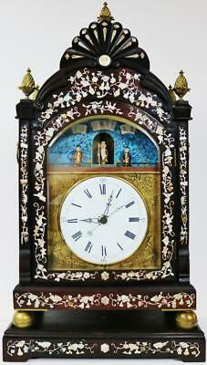 Huge Antique Chinese Inlaid Rosewood Twin Fusee Automaton Verge Bracket Clock
