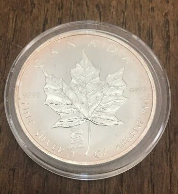 Canada 2001 1 Oz Pure .999 Silver Maple Leaf Coin W Snake Privy Uncirculated COA