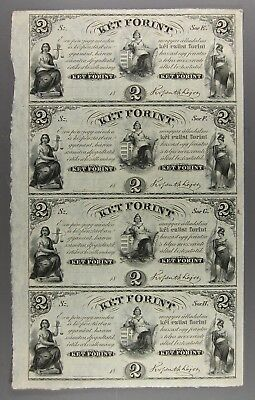 Uncut Sheet of FOUR $2 Key Forint Banknotes To Finance Hungary Rebellion of 1848