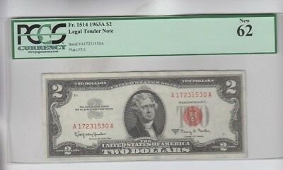 Legal Tender $2 Red Seal 1963-A PCGS graded  new 62