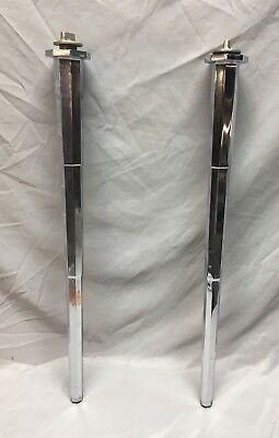 Pair Large Antique Chrome Brass Bathroom Sink Console Legs Heavy Vtg Old  86-18J