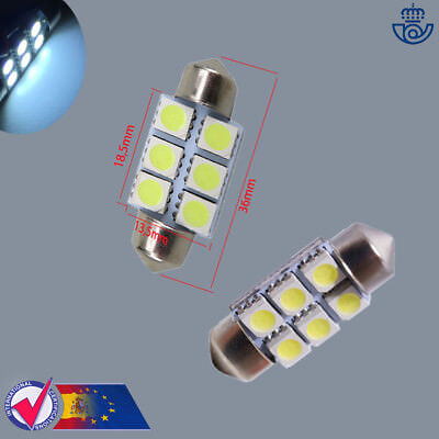 x2 BOMBILLAS 36MM 6LED SMD FESTOON C5W 5050 MATRICULA CANBUS lampara luz lamp