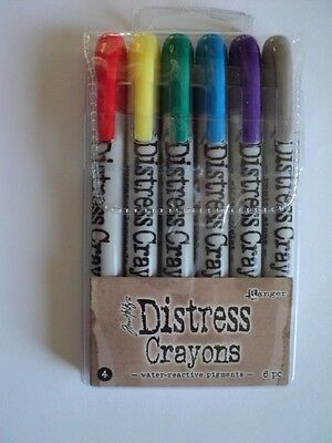 Tim Holtz Distress Crayons Set #4 Pack Of 6 Bnip  *look*