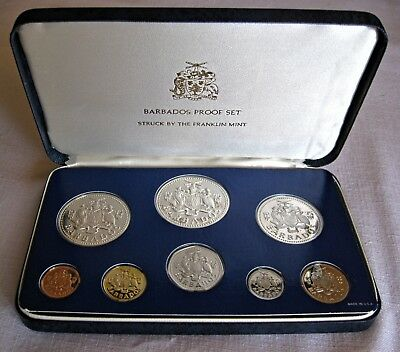 1975 BARBADOS– 8 piece Proof Set $10 Sterling W/ Box & COA