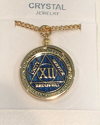 AA Medallion Necklace Holder Fits RecoveryChip Reflex or Elegant Sobriety Chips